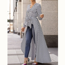 women high street striped long blouse shirt tops new vogue f