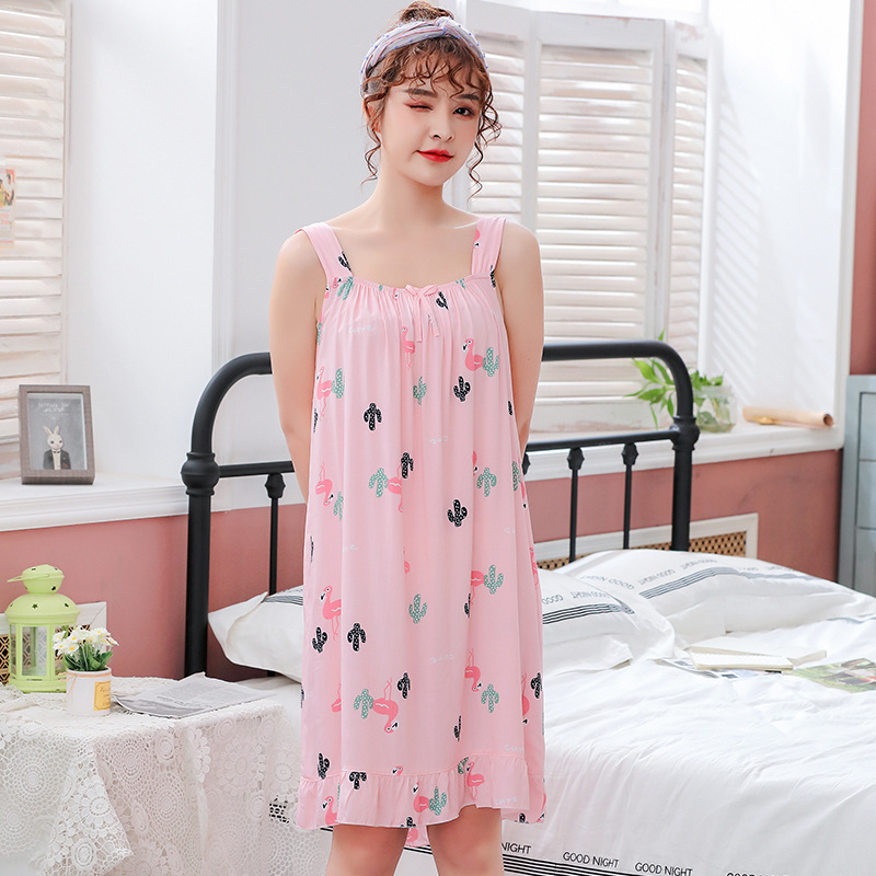 2019 Summer Print Sleeveless Cute Nightdress For Women Cotton Sexy Nightshirts Flamingo   Nightgowns   Female   Sleepshirts