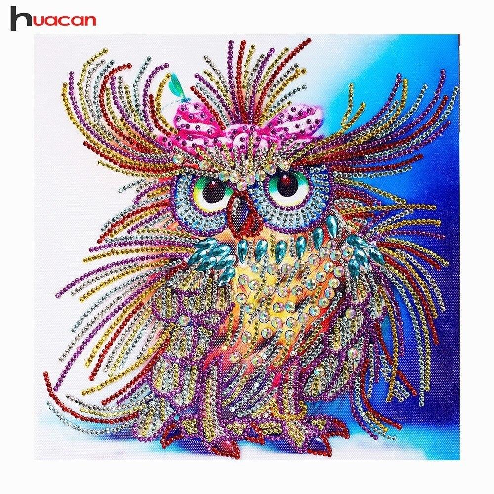 Huacan Speciale A Forma di Diamante Pittura Gufo Ricamo Artigianale 3d Trapano Mosaico FAI DA TE Diamante Ricamo Animale 34x44 centimetri