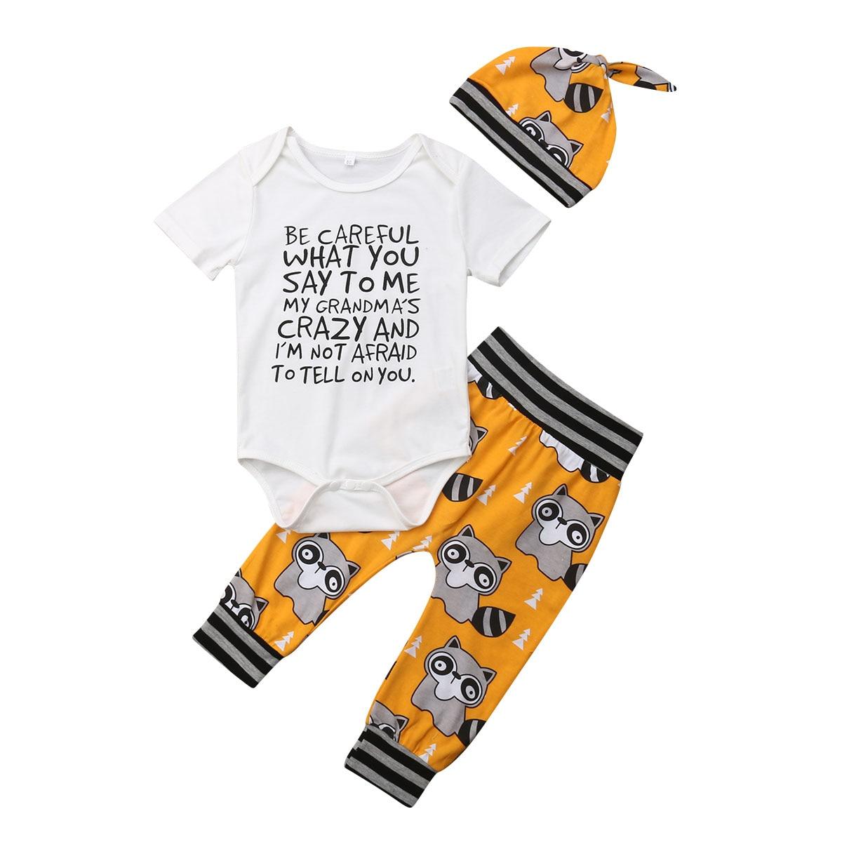 Pudcoco Summer 3PCS Toddler Infant Kid Baby Boy Girl Unisex Bodysuit Jumpsuit +Cat Leggings Pants+Hats Outfit 3-18M