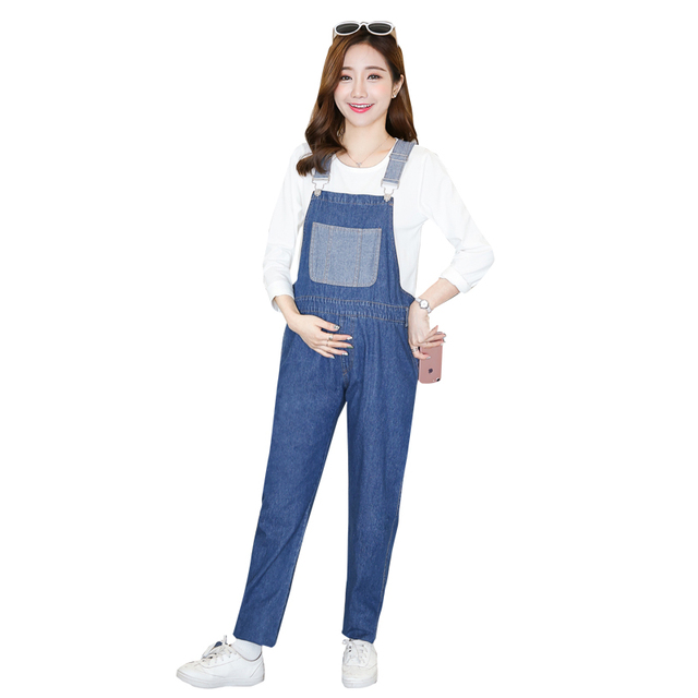 da7426f99b18 2018 new maternity fashion denim overalls patchwork pockets high waist  cotton trousers pregnant women jeans full length rompers