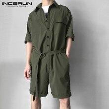INCERUN, модный мужской комбинезон с поясом, короткий рукав, уличная одежда, повседневный комбинезон, штаны, мужские карго комбинезоны Harajuku 5XL