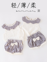 Baby Suit baby set Summer girl Clothes Thin Section Twinset Pure Cotton Girl Go Out Western Style Wear