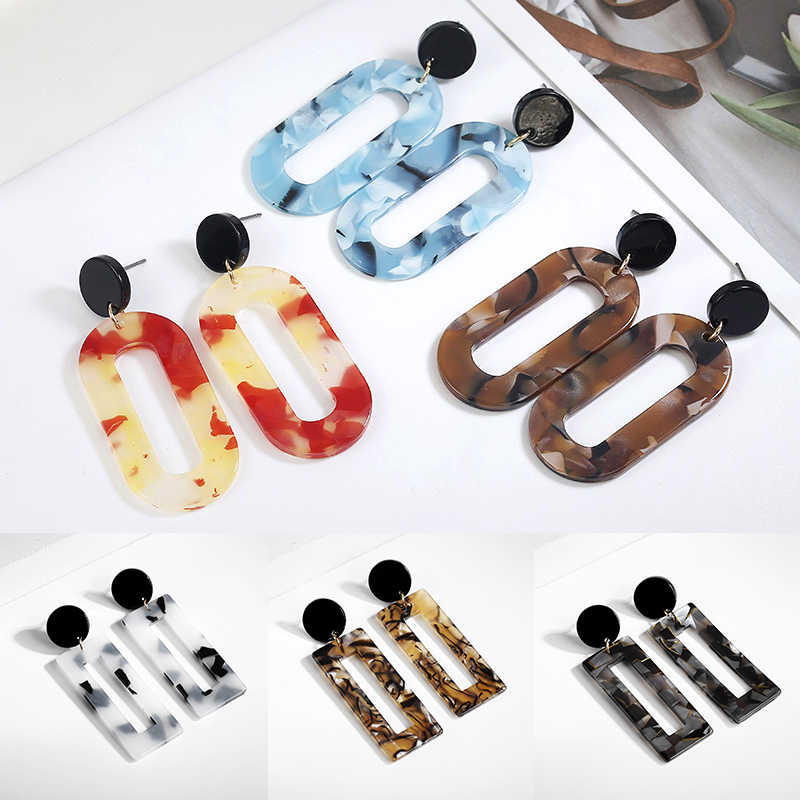 New Fashion Square Women Geometric Acrylic Leopard 1Pair Turtle Color Circle Drop Earring Long Tassel 11 Colors Print