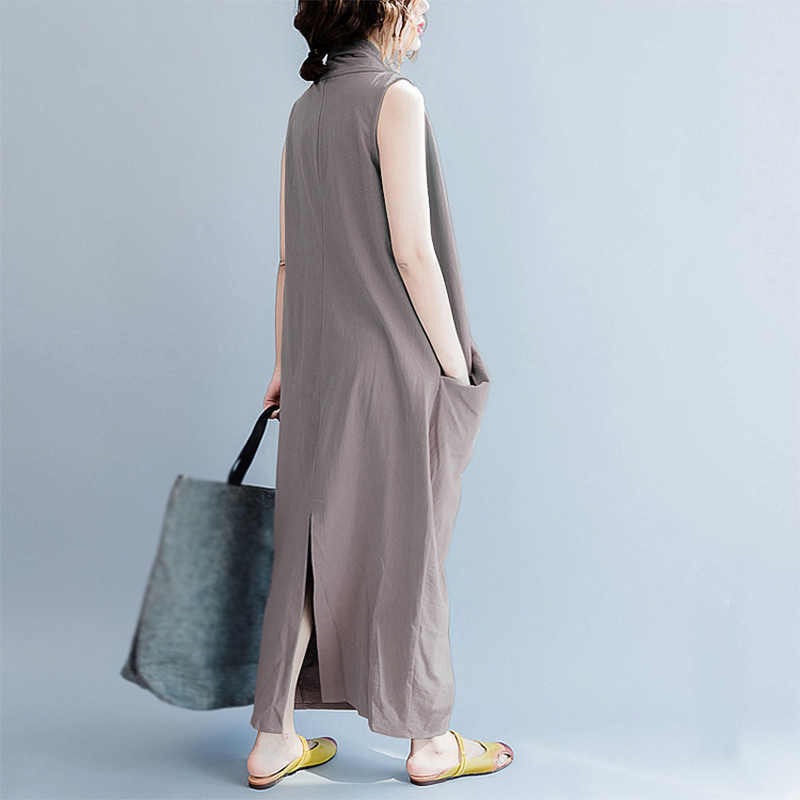 Новый Для женщин без рукавов с v-образным вырезом Сарафан длинное платье Oversize перекрестный платье XL-4XL