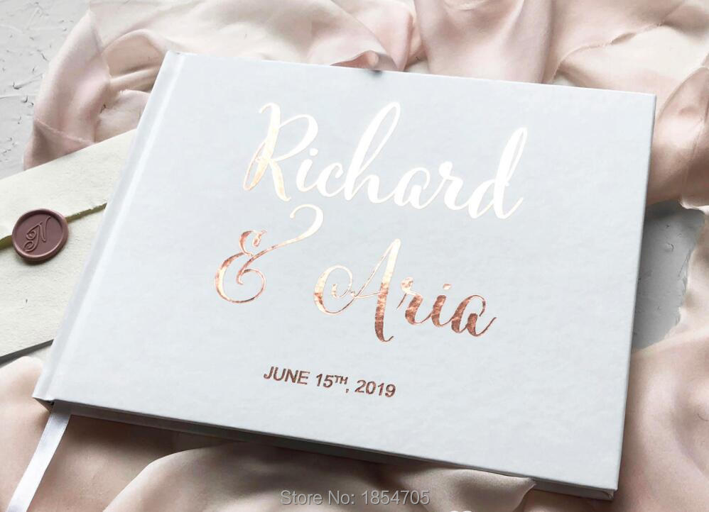 Customize Names Date Rose Gold Hardcover Wedding Book Journal Wedding Guest Book Modern Wedding Guests Sign In Book Photo Albums
