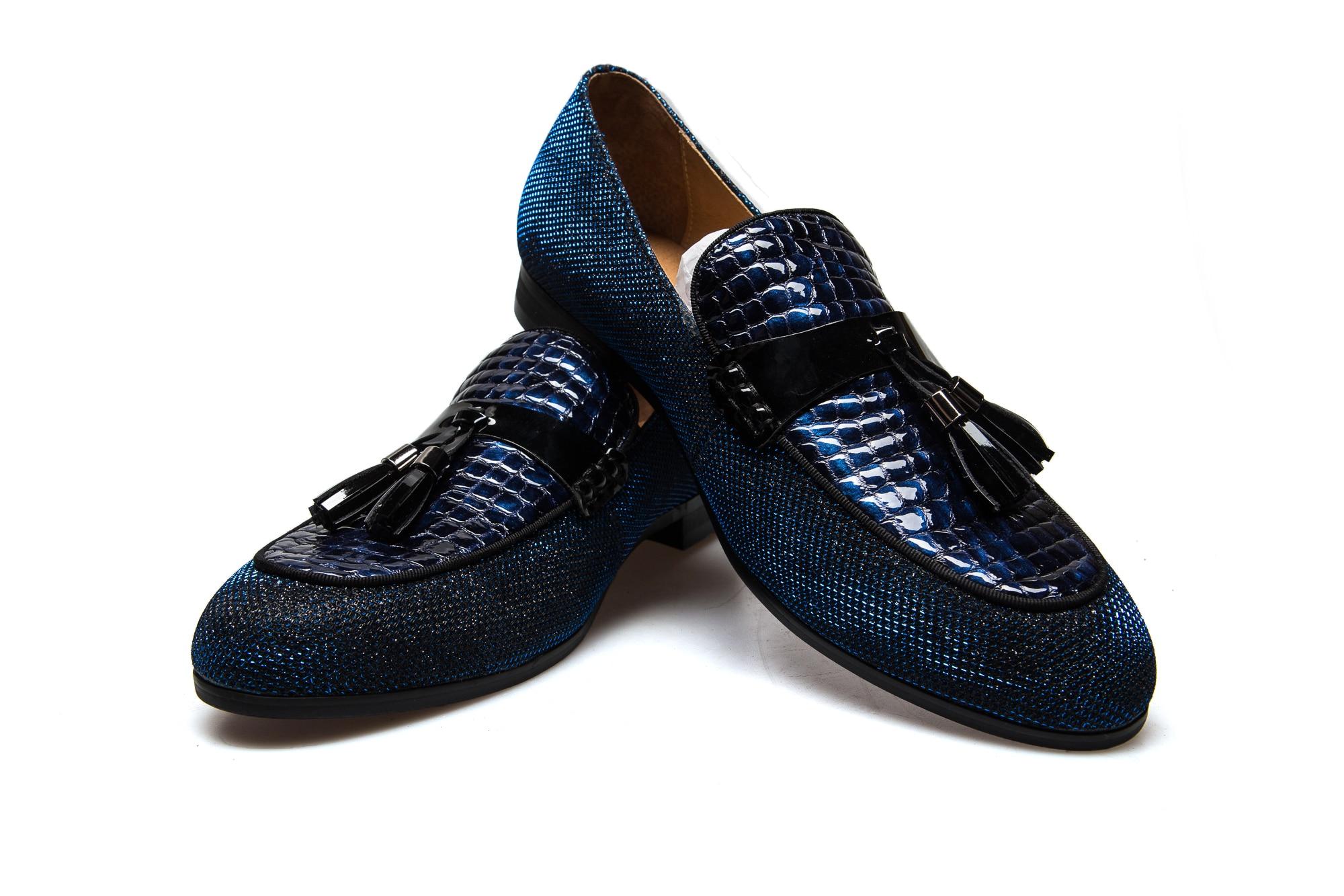 vermelho Vermelho Mocassins azul Com on Da De Moda Festa Preto Sapatos Homens Masculinos Preto Meijiana Couro Respirável Slip UTOnn4xq