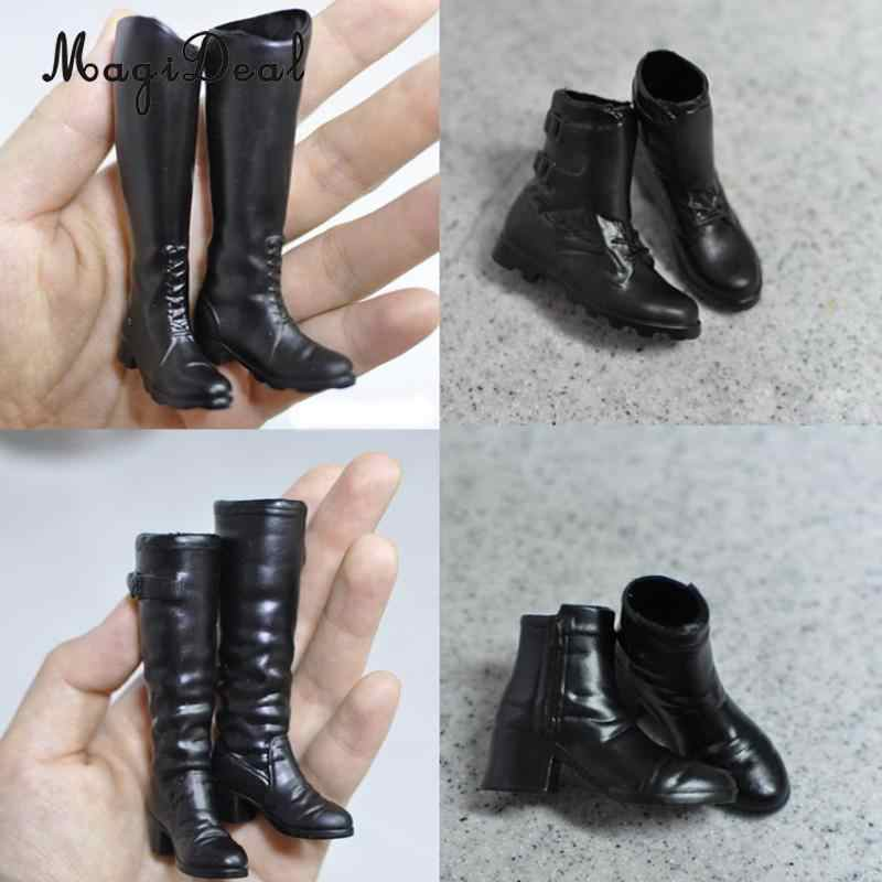 ... 1 Pair Rubber 1 6 Scale Women s Black Long Boots Shoes for 12 Inch Hot  ... 78b382e17dda