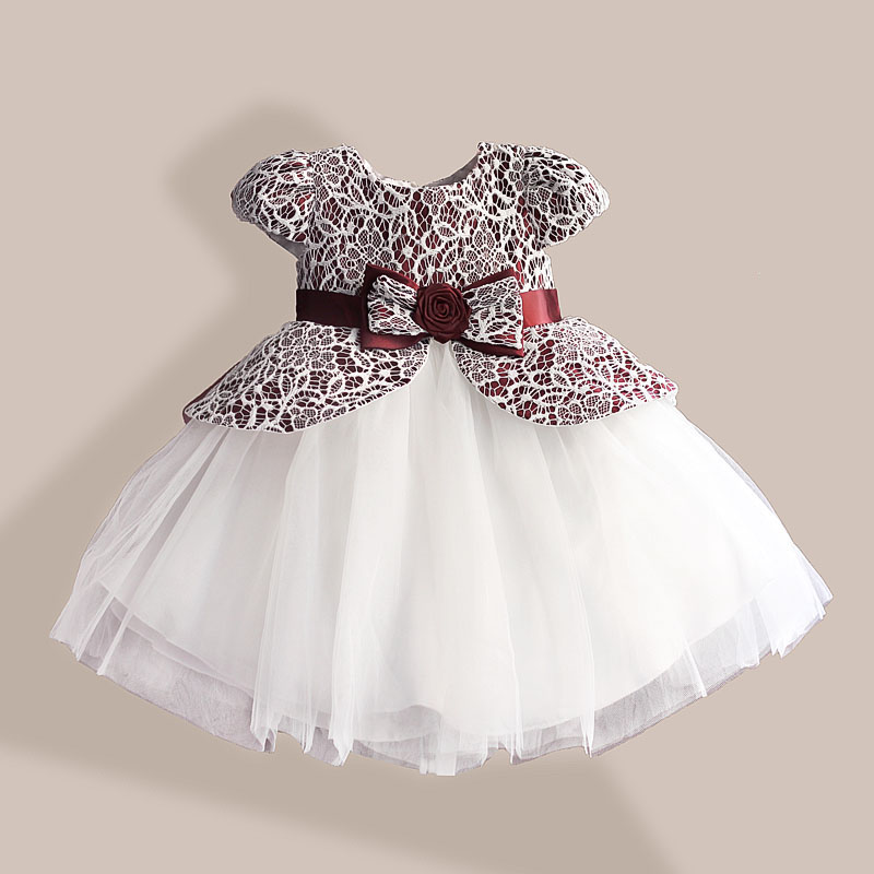 Lace Flower Girl Dress TUTU Style Silk Belt Princess Kids Dresses 3 färger leopard Girls Party Dress för 1-6T