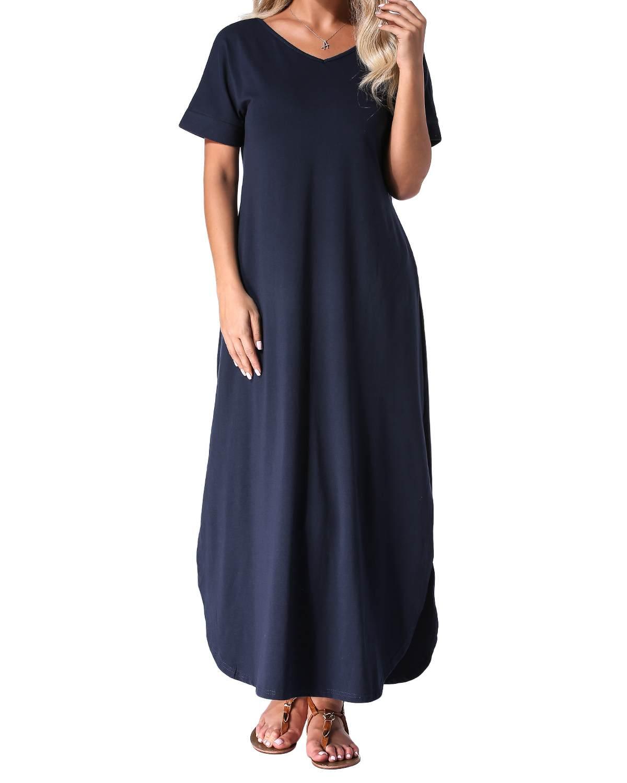 Summer Split Dress Women Cotton Casual Loose Solid Sexy V-Neck Short Sleeve Maxi Long Party Bodycon Dresses Vestidos Plus Size