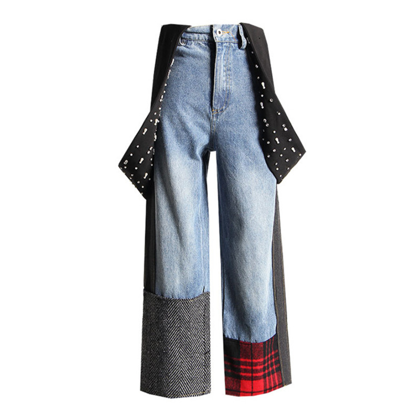 [EWQ] 2019 Spring Autumn High Waist Denim Patchwork Pockets Pleated Ankle-length Pants Casual Overalls Women Fashion Tide AD011