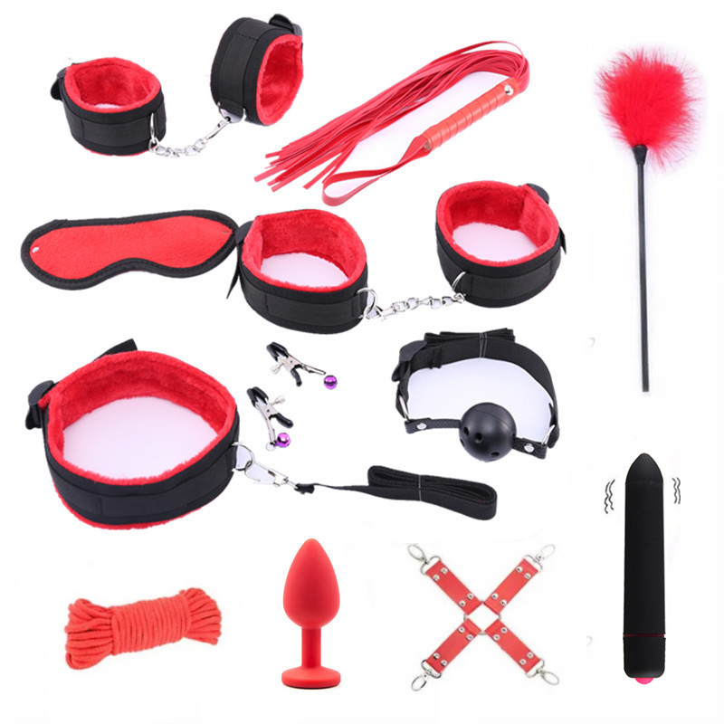 Handcuffs Bdsm Sex Bondage Set  Erotic Toys For Adults Bdsm Toys Anal Plug Whip Gag Nipple Clamps Games For Adults Sex Toys