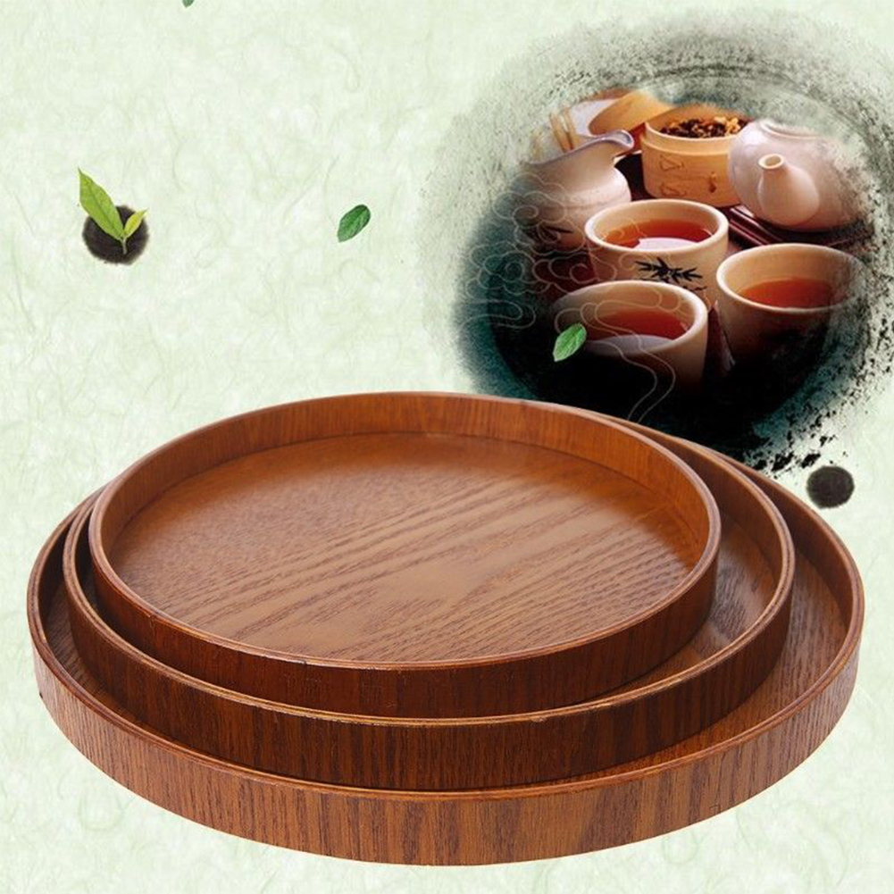 Wooden Round Kitchen Tools Dishes Platter Plate Retro Food Tea Accessories Bakery Serving Tray Fruit Tea Tray Natural 3 Sizes