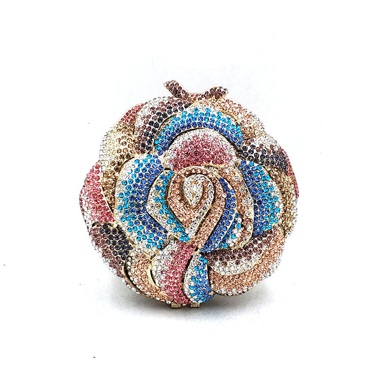 Ladies Bridal wedding party purse women evening party diamond luxury rose flower clutches elegant crystal small
