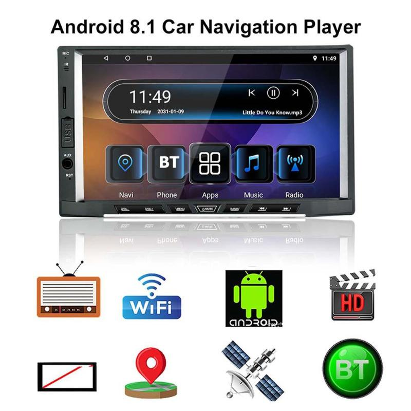 2 autoradio android 7 pouces tactile Android 8.1 autoradio lecteur MP5 GPS navigation Support GPS Navi FM radio WiFi Carplay