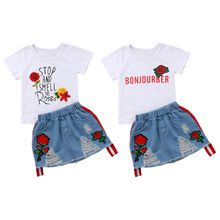 Fashion New Toddler Kids Girl Summer Clothes Short Sleeve Floral T-shirt Tops+Embroider Rose Flower Hole Denim Skirt 2PCS Set 2017 new fashion toddler kids girl clothes set summer short sleeve mini boss t shirt tops leather skirt outfit child 2pcs suit