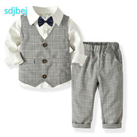 Boy's Long Sleeve Shirt + Plaid Vest + Trousers + Gentleman Bow Tiebaby Birthday Party Clothes 1 5 Years Old Boy Suit