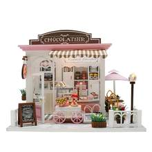 DIY Assembled Cottage With LED Lights Chocolate Candy Store Simulation Doll House Children's Room Decoration Without Dust Cover(China)
