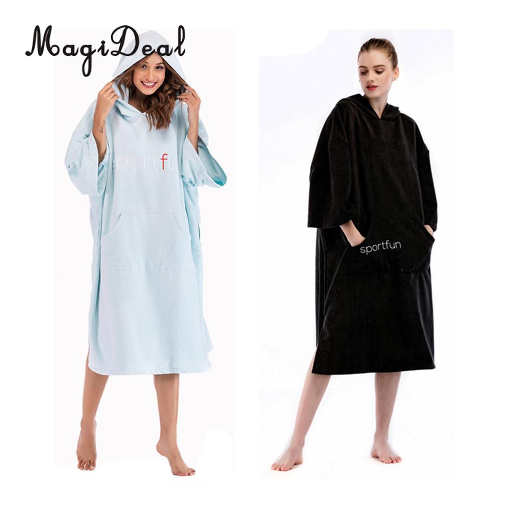 Unisex Mens Changing Robe Hooded Side Button Bathrobe Beach Poncho Dress Shirt