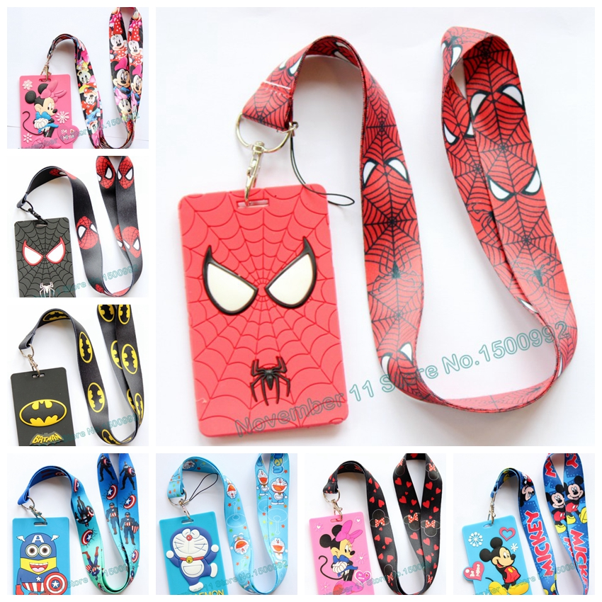 New 1Pcs Cartoon Mickey Minnie Spider-man Lanyard ID Badge Holder Key Neck Strap Kids Gifts QW-469
