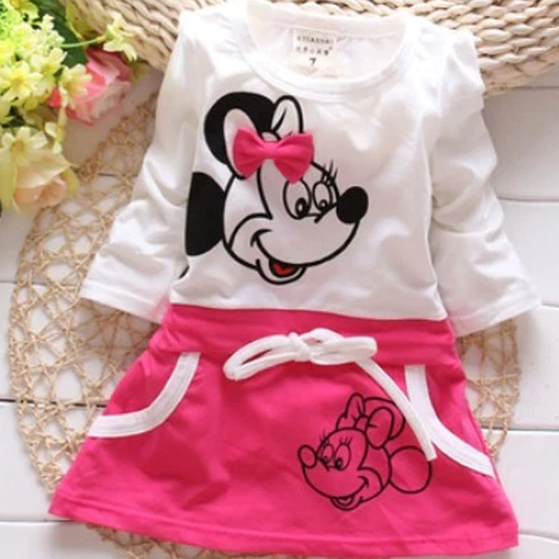2020 New Fashion Spring Summer Girls Lovely Princess Dress Children Cartoon Image Stitching Bow-knot Dress Kids Cute Clothes