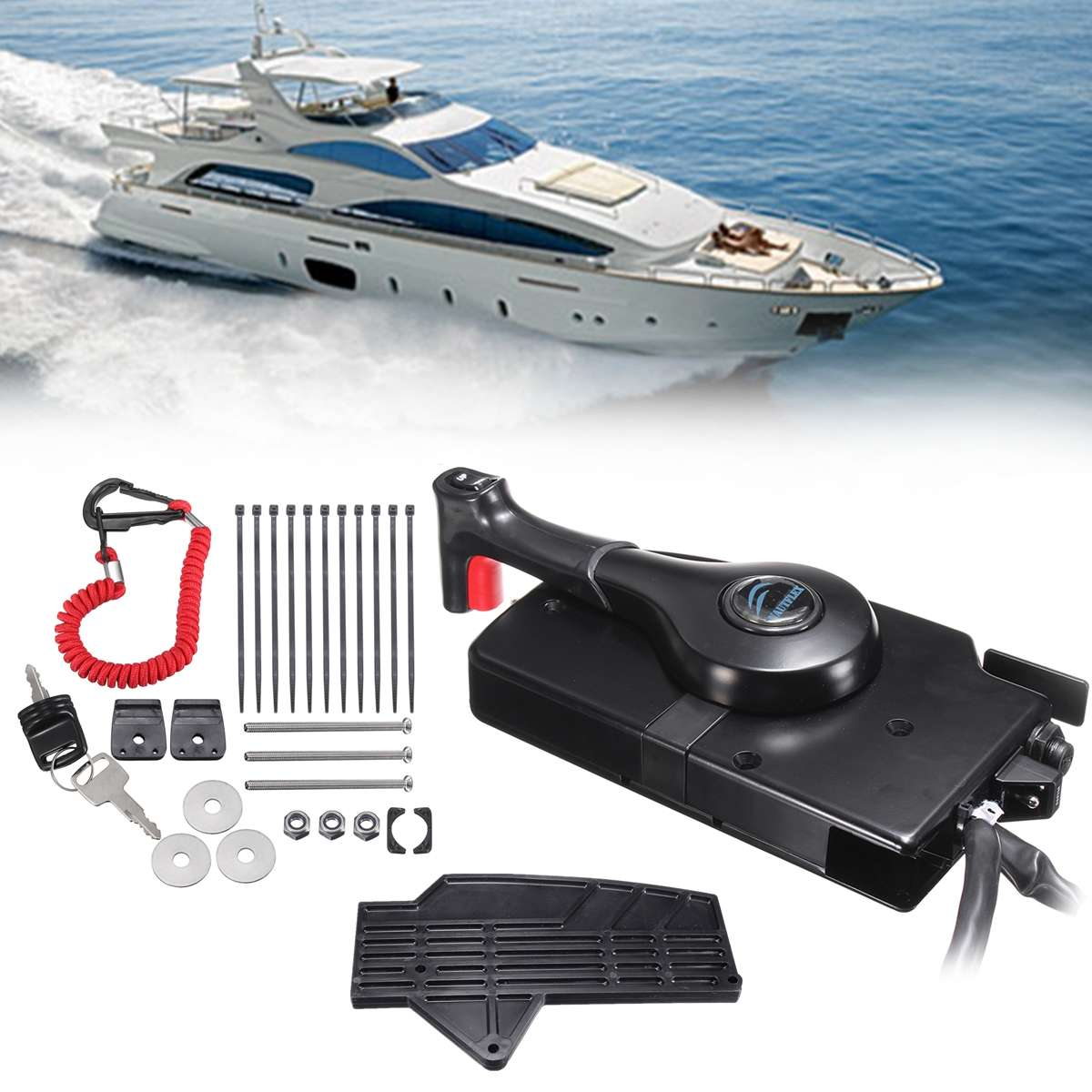 Outboard Engine Side Mount With 14 Pin Cable Boat Remote Control Box for Mercury Include Forward/reverse Lever Up/Down switch