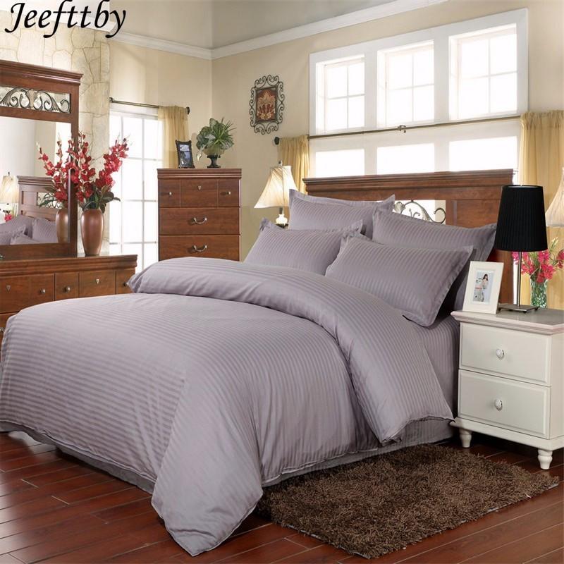 Jeefttby 100% coton gris couleur rayure 3 pc/4 pc Satin ensembles de literie hôtel solide drap housse de couette drap plat taie d'oreiller roi
