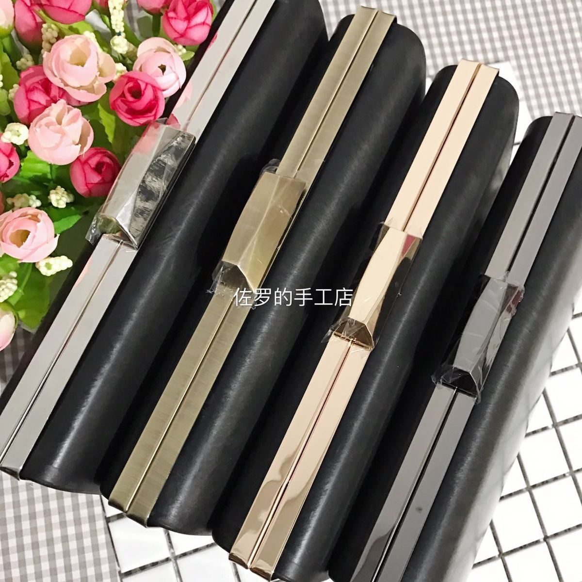 22 Cm Silver Gold Metal Pusr Frame With Black Plastic Box Wallet Purse Frame Diy Handbag Accessories Obag Handle