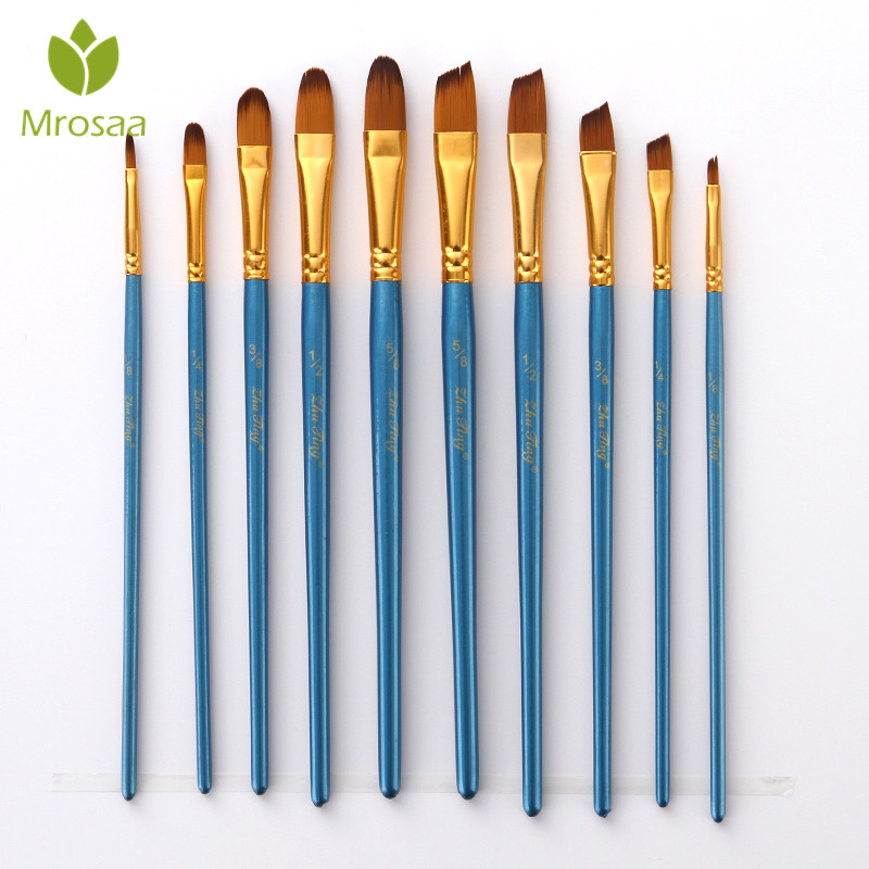 Mrosaa 5/10Pcs/Set Watercolor Gouache Paint Brushes Round Oblique Tip Nylon Hair Painting Brush Set Oil Acrylic Art Supplies