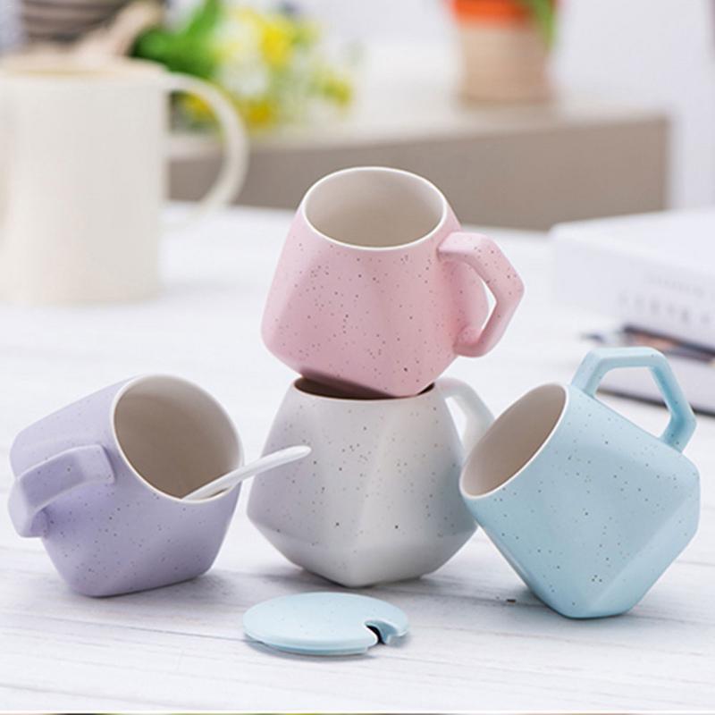 Multi Kleuren 301 Ml-400 Ml Keramische Cup Retro Ontbijt Melk Water Koffie Cup Rhombic Container Groothandel