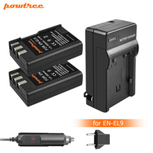Powtree 2000mAh EN-EL9 EN EL9 EN-EL9a EL9a Camera Battery+Charger For Nikon D40 D60 D40X D5000 D3000 L10