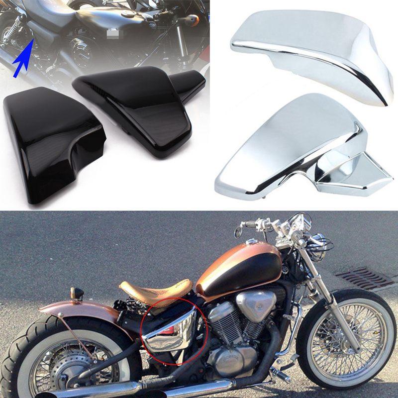 1 Pair Chrome Black Battery Side Cover For Honda Shadow VLX 600 VT600C