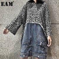 [EAM] 2018 New Autumn Winter 4 Color Leopard Long Sleeve O neck Patchwork Denim Loose Mid Long Dress Women Fashion Tide LC009