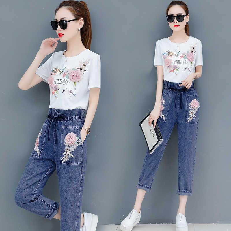 2019 летняя новая женская Повседневная футболка, длинные штаны, костюмы, Женская свободная футболка с цветочным принтом + джинсовые брюки с дырками, комплект из 2 предметов
