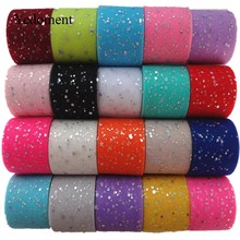 25 Yards/Roll 6.5 Cm Glitter Pailletten Tulle Roll Bruiloft Decoratie Tule Stof Tutu Jurk Diy Organza Baby Shower feestartikelen(China)