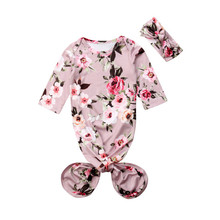 Спальный мешок с цветочным принтом для новорожденных девочек, одежда для сна, сумка для сна, повязка на голову, 2 предмета, от 0 до 6 месяцев