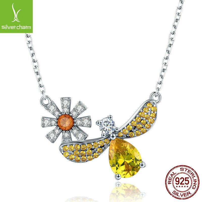 Jewelry Making 925 Sterling Silver Daisy With Bee Yellow Cz Pendant Necklace For Women 925 Jewelry Fashion GiftJewelry Making 925 Sterling Silver Daisy With Bee Yellow Cz Pendant Necklace For Women 925 Jewelry Fashion Gift