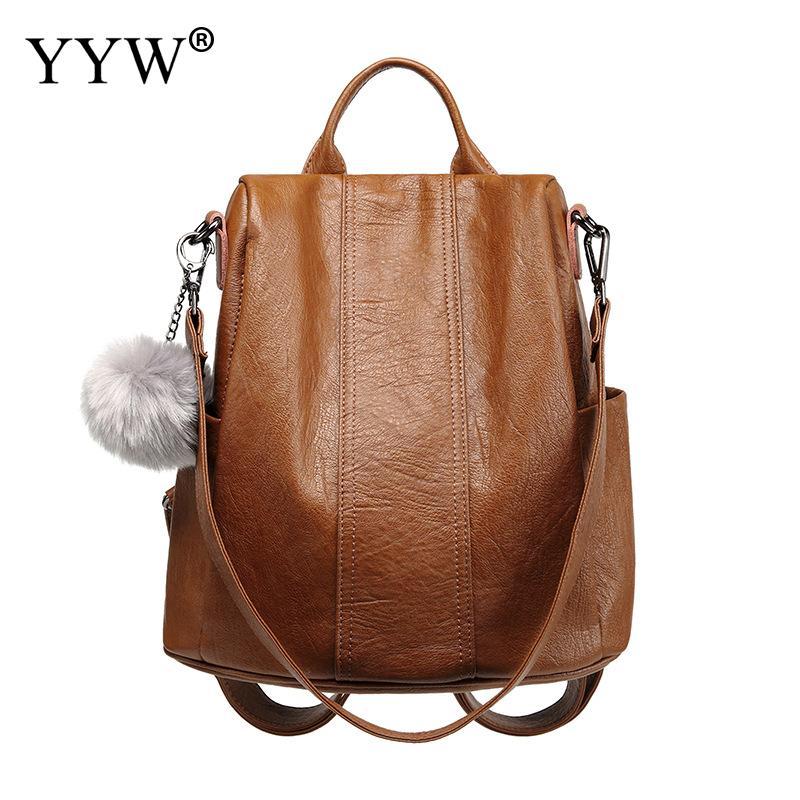 Высококачественный рюкзак из искусственной кожи с меховым шариком, женская сумка на плечо, мягкие черные коричневые ручные сумки, офисный ж