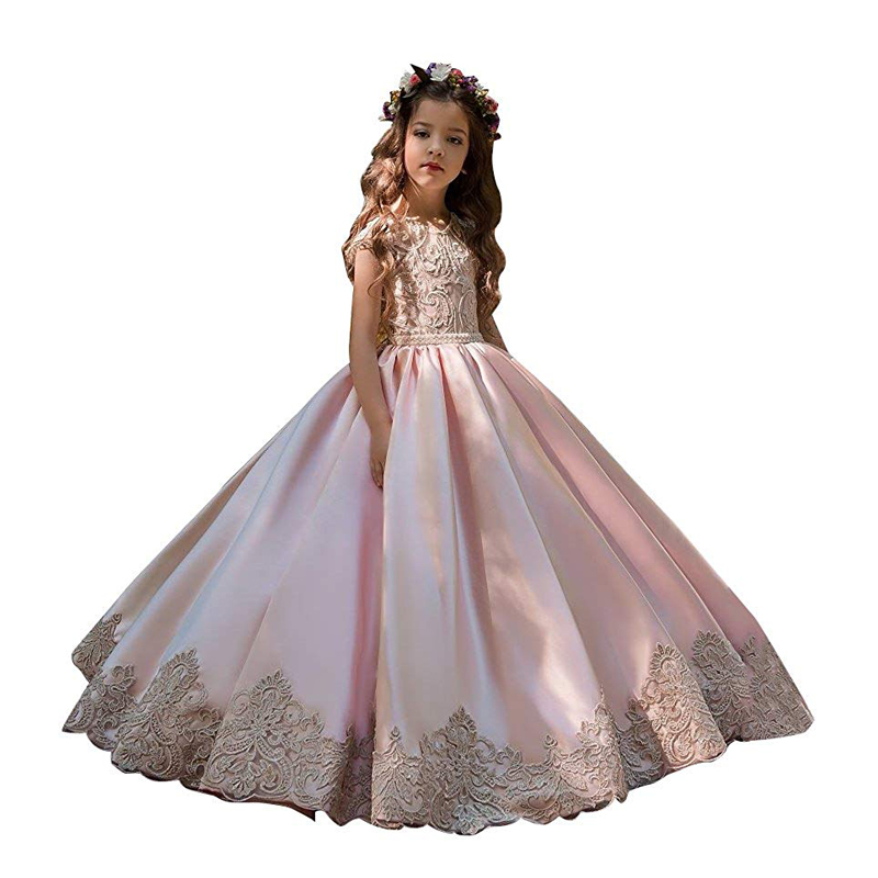 Pink Little Girls Pageant Dress Cap Sleeves Applique Kids Evening Ball Gowns Wedding Party First Communion Flower Girl Dresses in Flower Girl Dresses from Weddings Events