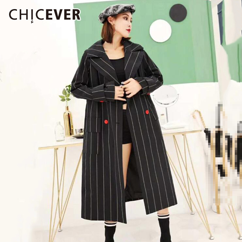 CHICEVER Striped   Trench   Female Coat Women's Windbreaker Lapel Long Sleeve Double Breasted Long Windbreaker Autumn Clothing 2018