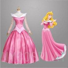 Розовое платье для взрослых «Спящая красавица», «Принцесса Аврора», женское платье-накидка, комплект, карнавальный костюм на Хэллоуин, женские вечерние платья розового цвета