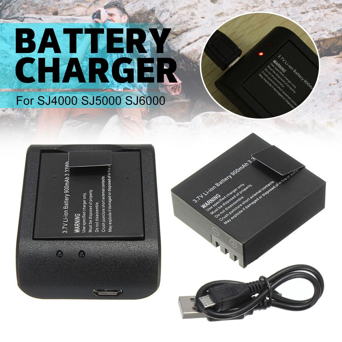 LEORY 2x3,7 V 900 mAh Li-Ion batería + Cable USB cargador de escritorio de carga para SJ4000 SJ5000 SJ6000 acción deportes Cámara DVR