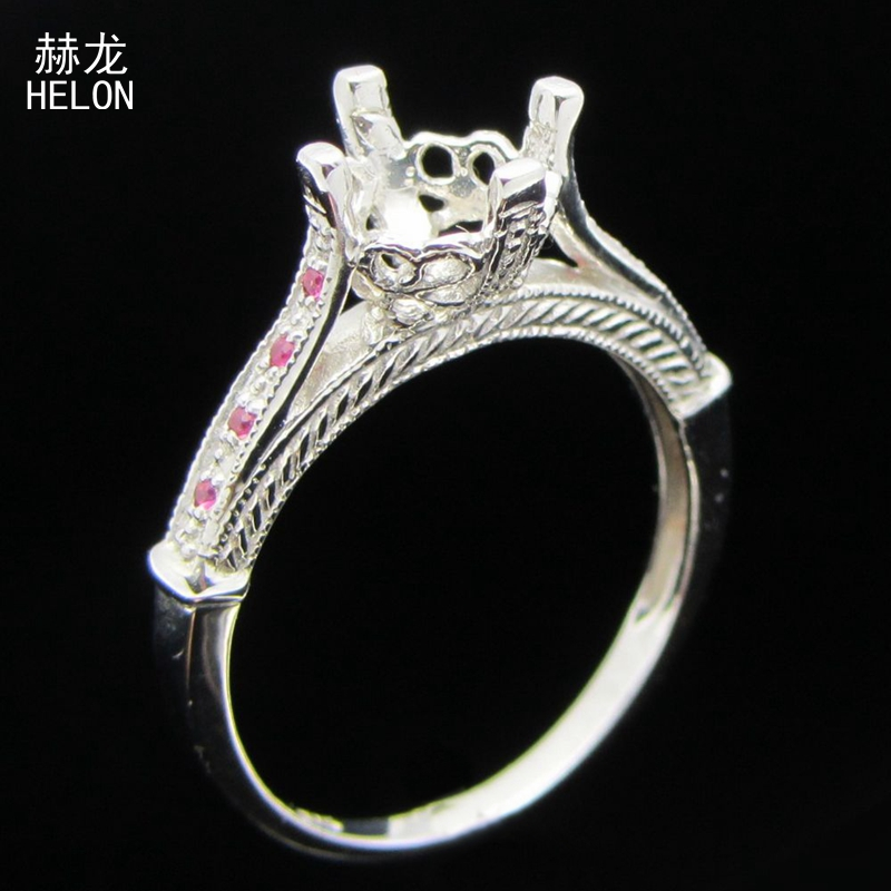 7 -7.5mm Round cut 925 Sterling Silver Pave Genuine Natural Pink Sapphire Ring Semi Mount Art Deco Vintage Women Engagement Ring7 -7.5mm Round cut 925 Sterling Silver Pave Genuine Natural Pink Sapphire Ring Semi Mount Art Deco Vintage Women Engagement Ring