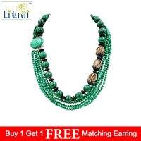 Lii Ji Natural Malachite 4mm 14mm Black Agate 925 Sterling Silver Setting Malachite Clasp Big Necklace Approx 54cm