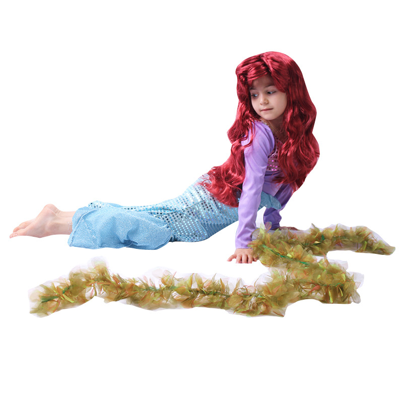 Little Mermaid Tail Costume Cosplay Kids Dress Girl Mermaid Party Birthday Dress Mermaid Halloween Party Clothes Long Sleeve