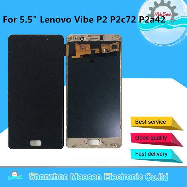 "M & sen 5.5 ""para lenovo vibe p2 p2c72 p2a42 tela lcd + painel de toque digitador da tela para lenovo vibe p2 lcd quadro montagem"