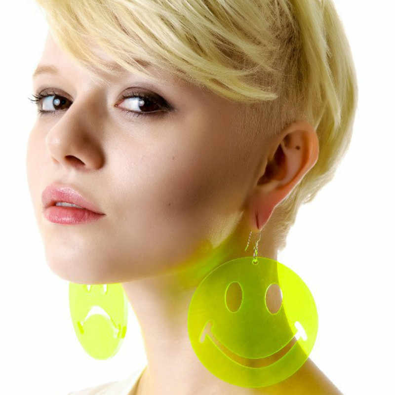 2019 New Night Club Hip Hop Long Harajuku Earrings Cry Smile Face Large Acrylic Big Earrings for Women Pendientes Grandes