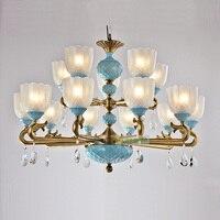 Роскошные Керамическая люстра китайский освещение для столовой Винтаж медные люстры светодио дный висит огни спальня лампы