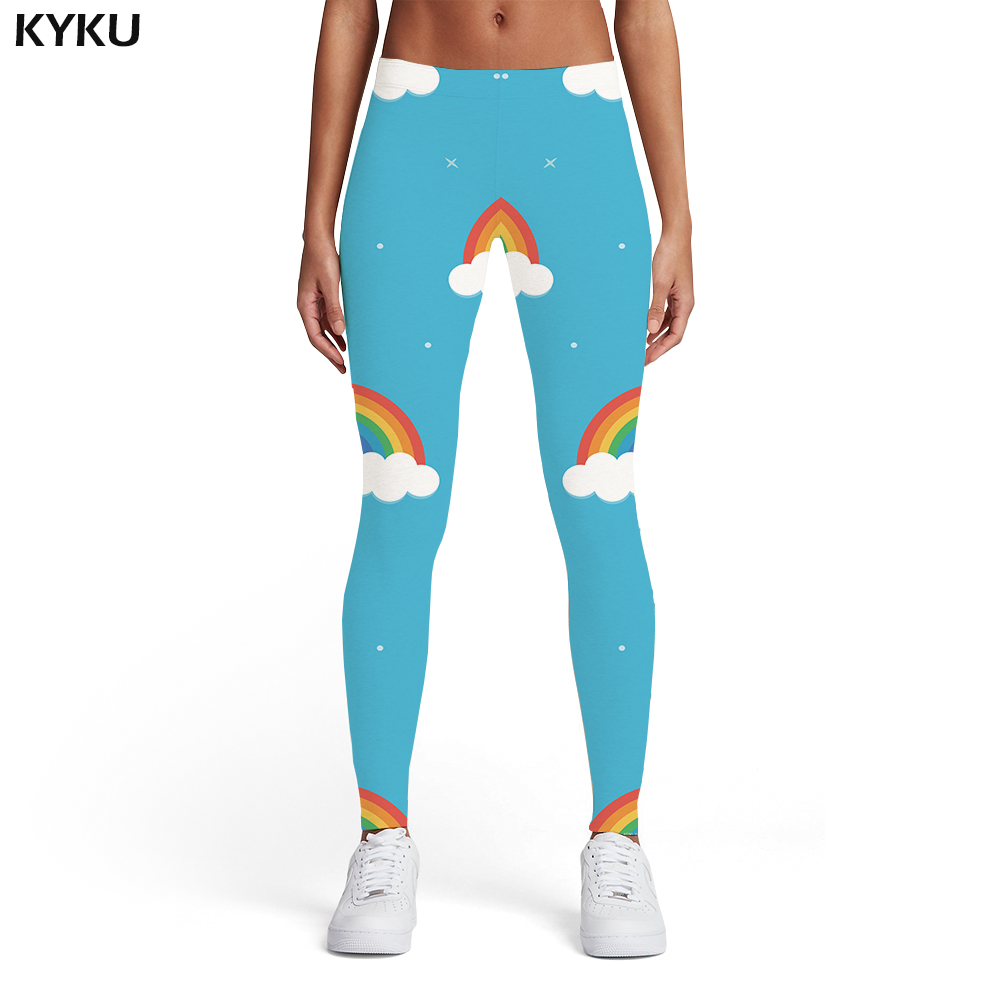 KYKU Rainbow Leggings Women Galaxy 3d Print Space Sport Colorful Spandex Harajuku Sexy Womens Leggings Pants Casual Slim Funky
