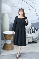 MINSUNDA Plus Size Buttoned Square Collar Long Sleeve Party Dress Office Ladies Bow Tie Back Fit and Flare Women A Line Dress